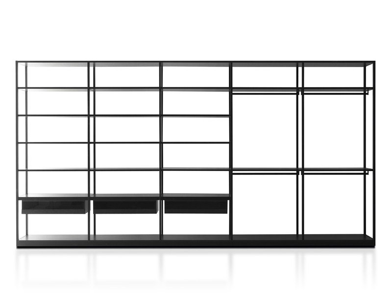 Sectional custom melamine-faced chipboard walk-in wardrobe STORAGE AIR by Porro