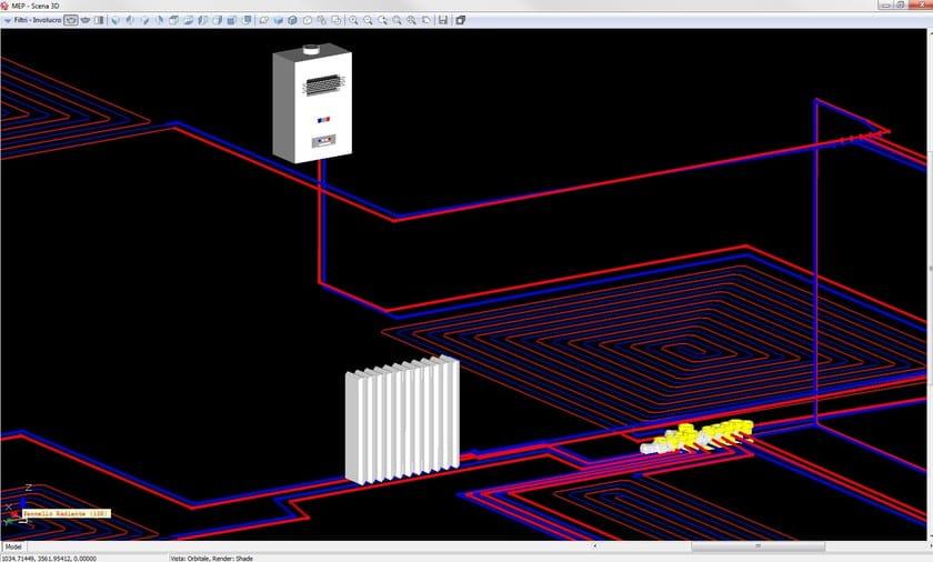 Clima Impianti Particolare 3D della rete di riscaldamento con radiatori e pannelli radianti