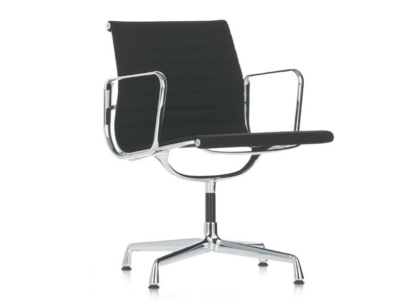 Fabric chair with 4-spoke base with armrests ALUMINIUM CHAIR EA 107 by Vitra