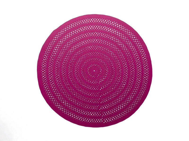 Round solid-color wool rug SHANG by paola lenti