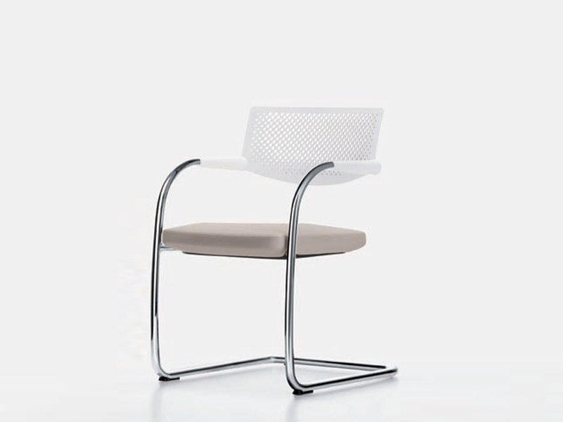 Cantilever chair with armrests VISAVIS 2 by Vitra