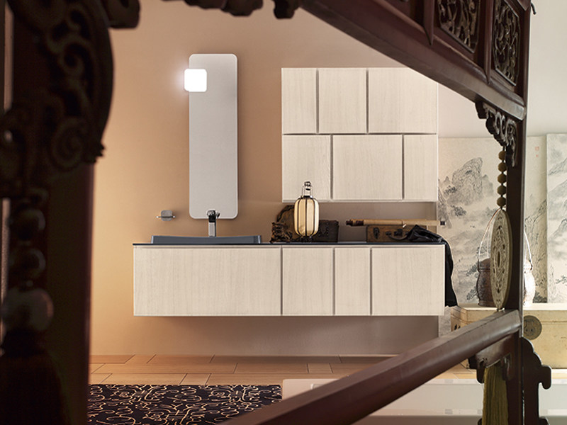Lacquered single wall-mounted vanity unit SUEDE 90/91 by Cerasa