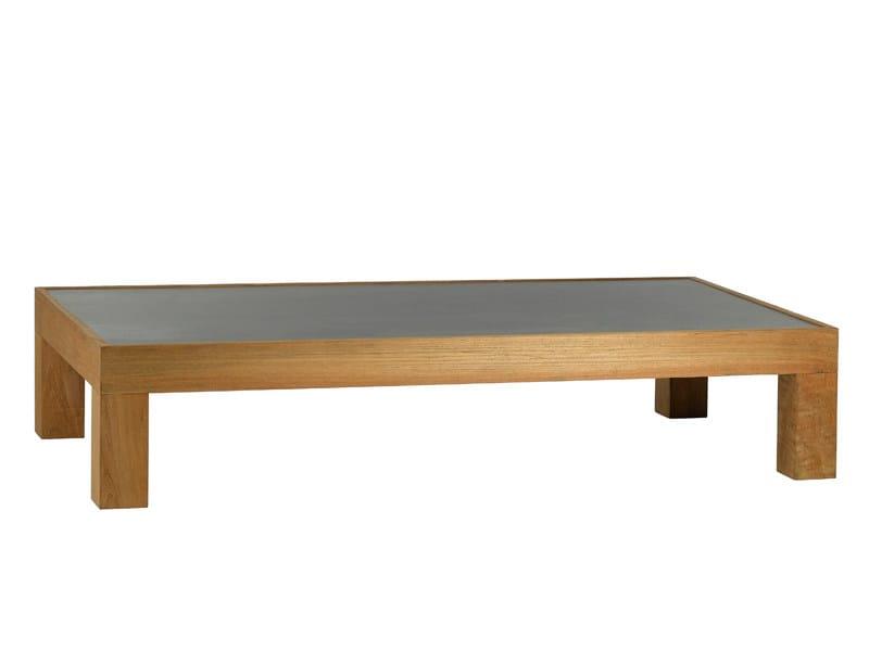 Low rectangular teak coffee table PURE SOFA | Rectangular coffee table by TRIBÙ