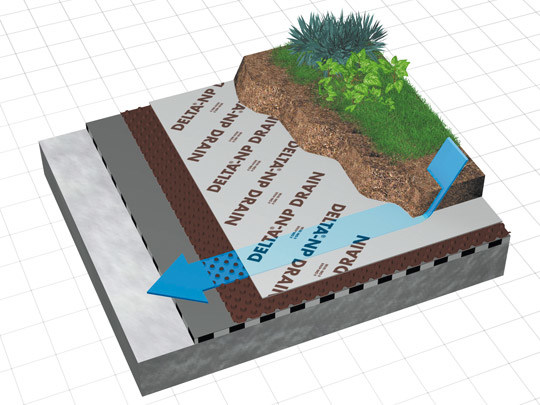 Honeycombed and textured membrane DELTA® - NP DRAIN by DÖRKEN ITALIA