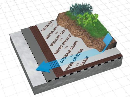 DELTA® - NP DRAIN Funzionamento del drenaggio in un giardino pensile protetto con DELTA®-NP DRAIN