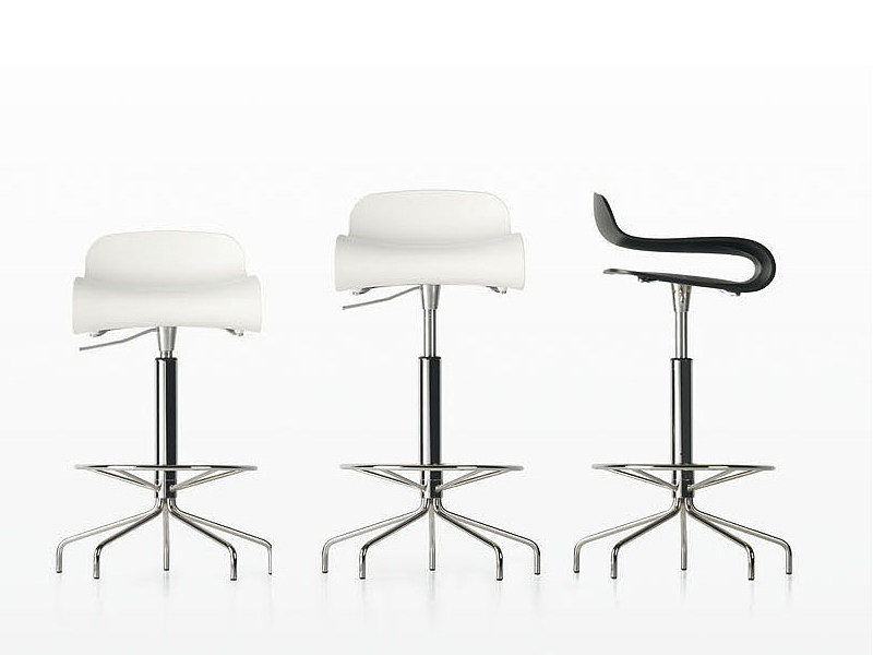 Swivel height-adjustable stool BCN   High stool by Kristalia