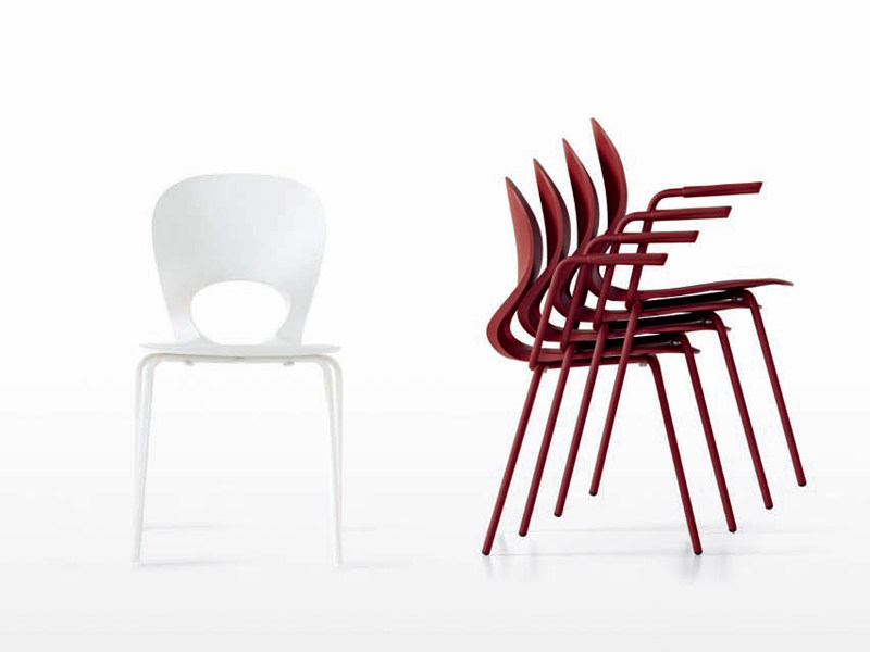 Stackable chair with armrests PIKAIA by Kristalia