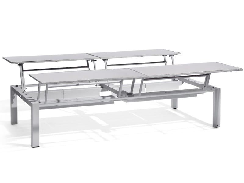 Extending Rectangular garden side table TRENTO TIP-UP | Lounge table for 4 by MANUTTI