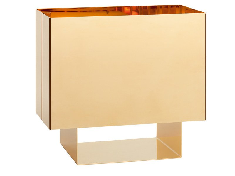 Stainless steel table lamp, 24 Karat gold finish SEAM ONE GOLD EDITION by e15