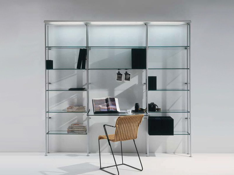 Wall-mounted shelving unit with built-in lights CRISTALINA | Shelving unit with built-in lights by BD Barcelona Design