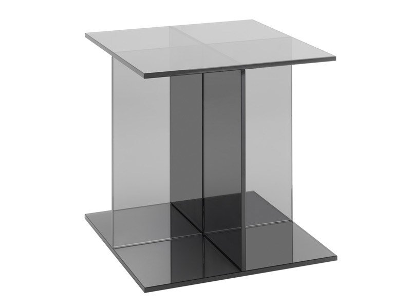 Square glass coffee table VIER by e15