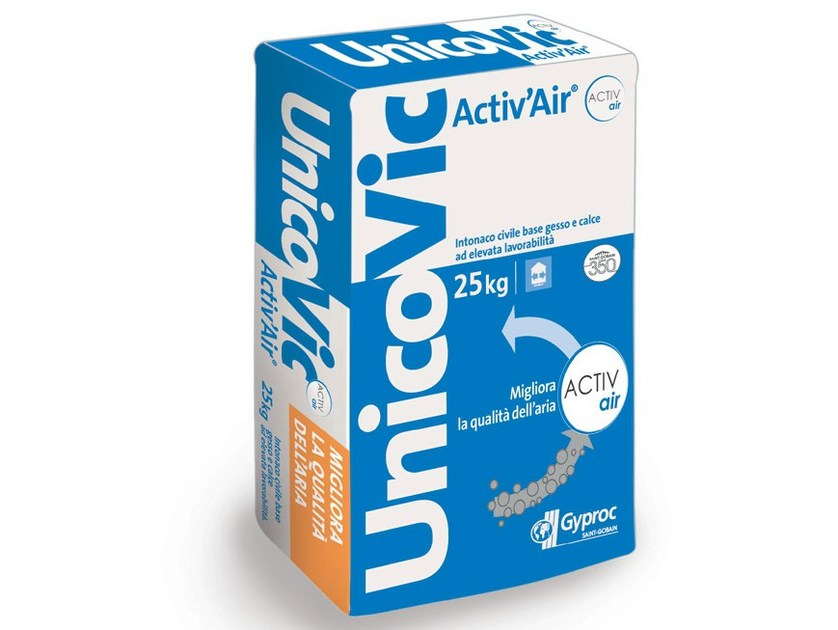 Hydraulic and hydrated lime based plaster UnicoVic Activ'Air® by Saint-Gobain Gyproc