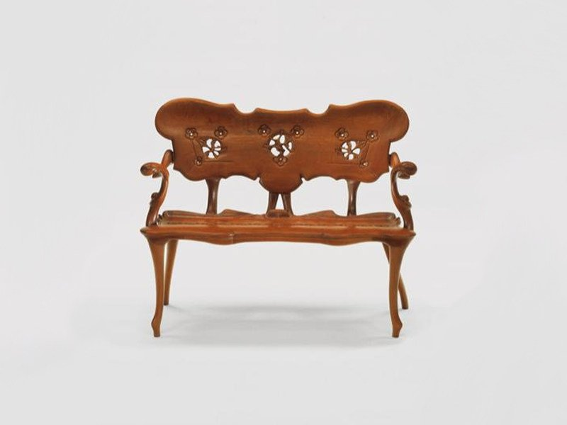 Solid wood bench with back CALVET | Bench by BD Barcelona Design