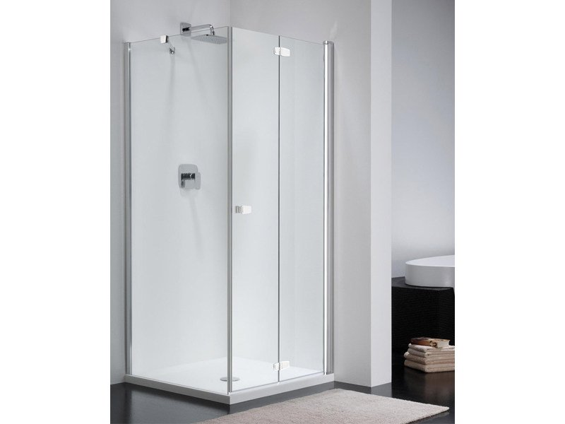Glass shower cabin with folding door COMBI FREE CE + CW1 by Provex Industrie