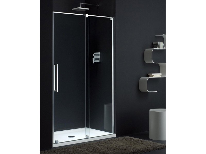 Glass shower cabin with sliding door S-LITE SN by Provex Industrie
