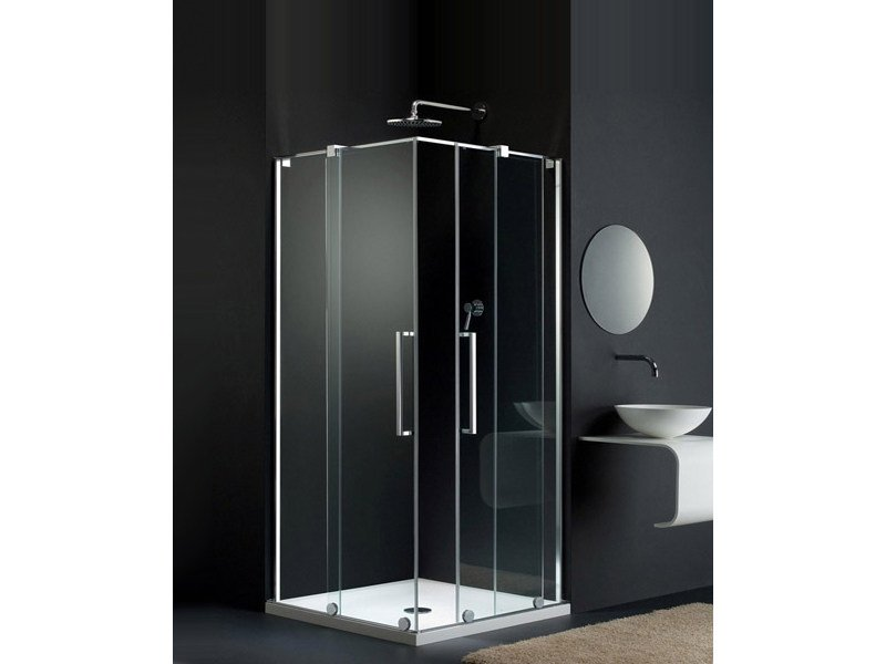 Glass shower cabin with sliding door S-LITE SK by Provex Industrie