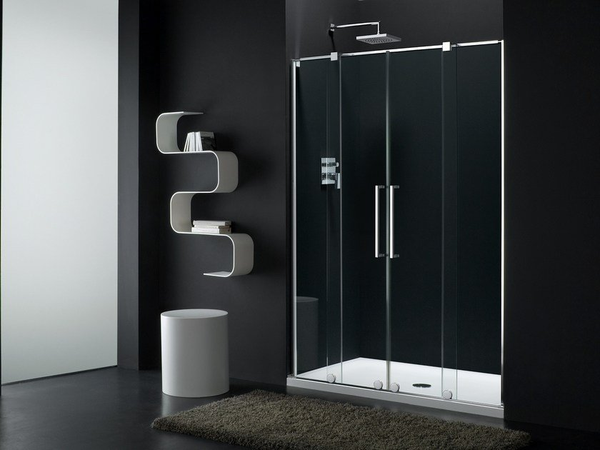 Glass shower cabin with sliding door S-LITE SI + SW-1 by Provex Industrie
