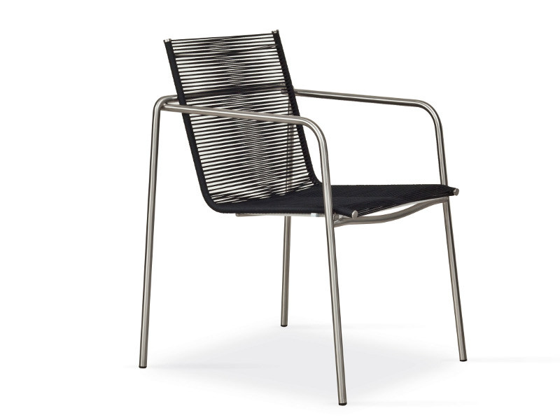Stackable rope garden chair with armrests TAKU | Rope chair by FISCHER MÖBEL
