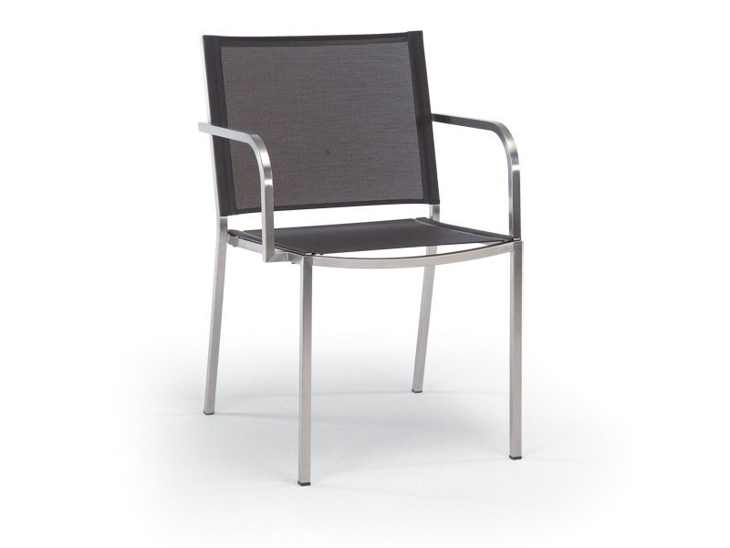 Stackable stainless steel garden chair with armrests HELIX | Chair with armrests by FISCHER MÖBEL