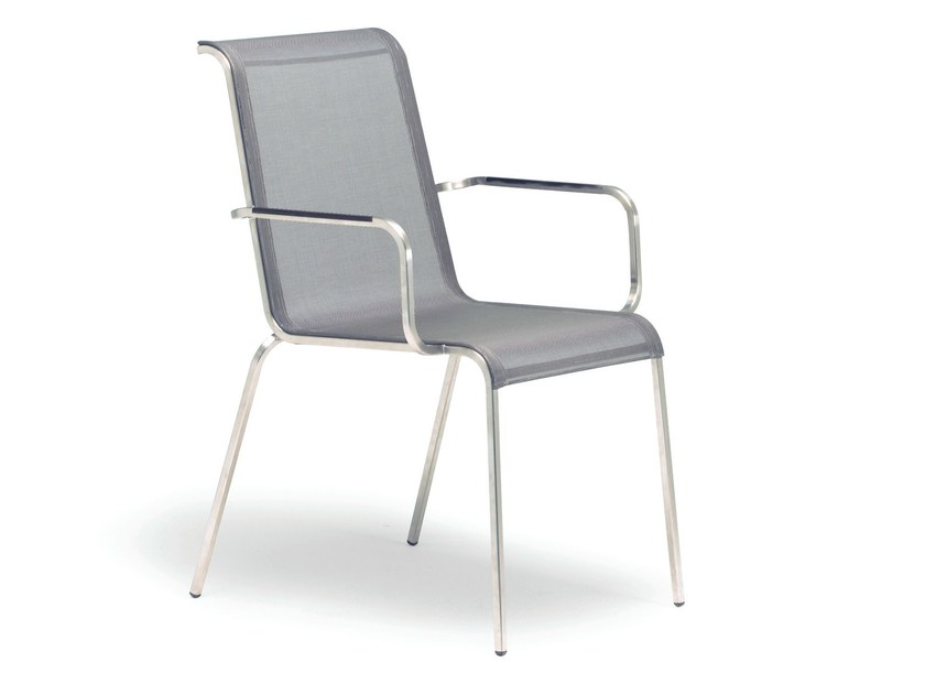 Stackable garden chair with armrests MODENA | Chair with armrests by FISCHER MÖBEL