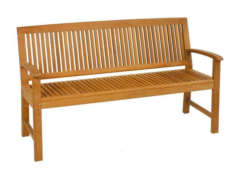Teak garden bench with armrests BURMA | Garden bench by FISCHER MÖBEL