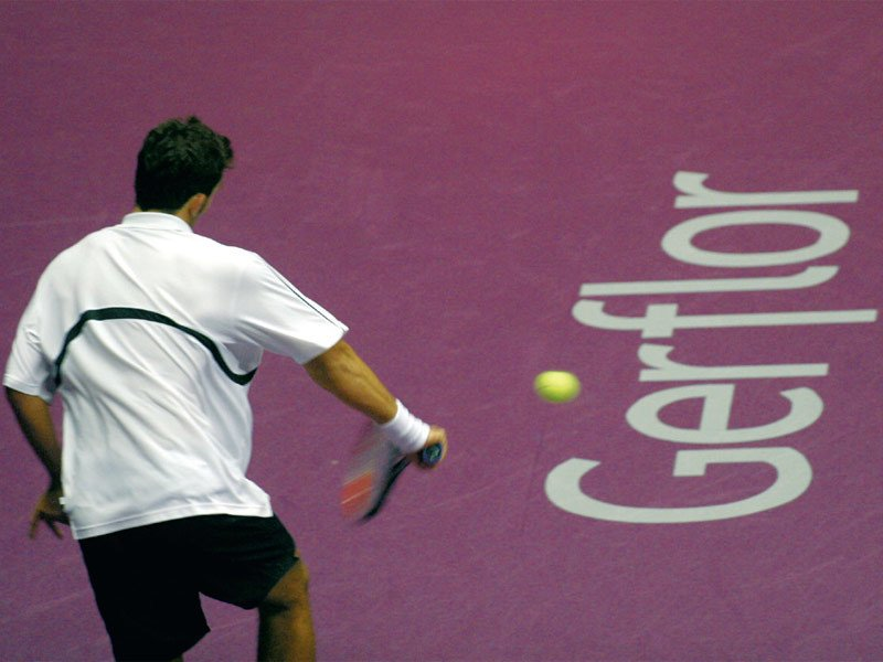 Resilient sports flooring for tennis fields TARAFLEX™ TENNIS by gerflor