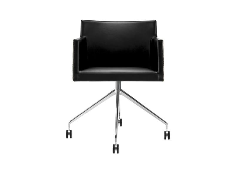 Chair with 4-spoke base with casters - MASAI - poltroncina trespolo girevole