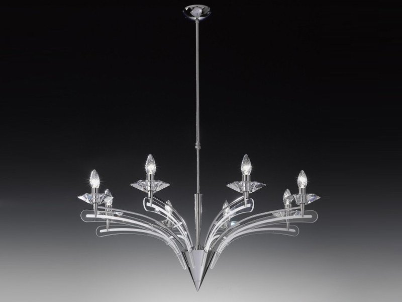 Screen printed glass chandelier ICARO | Chandelier by Metal Lux
