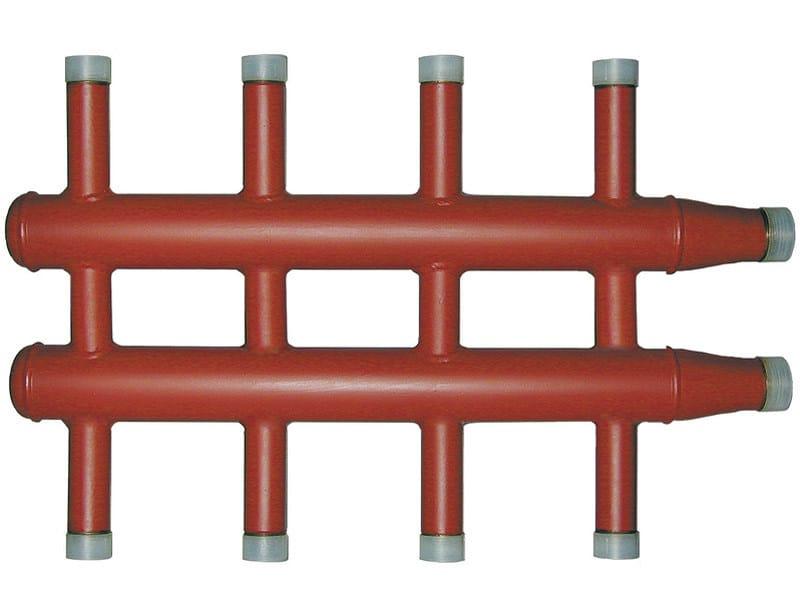 DIACOL Collettore di distribuzione caldaia per centrale termica con attacchi filettati, versione con attacchi contrapposti.
