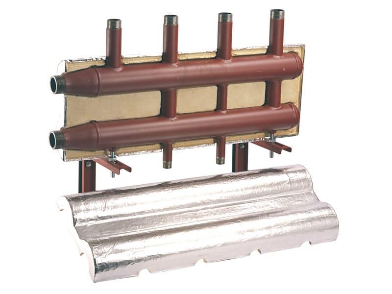 DIACOL Collettore di distribuzione caldaia per centrale termica con attacchi filettati completo di coibentazione e kit di fissaggio.