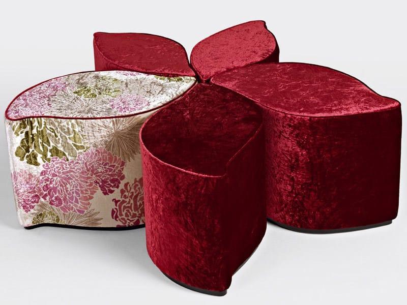 Upholstered velvet pouf PETALI DI TE by Sicis