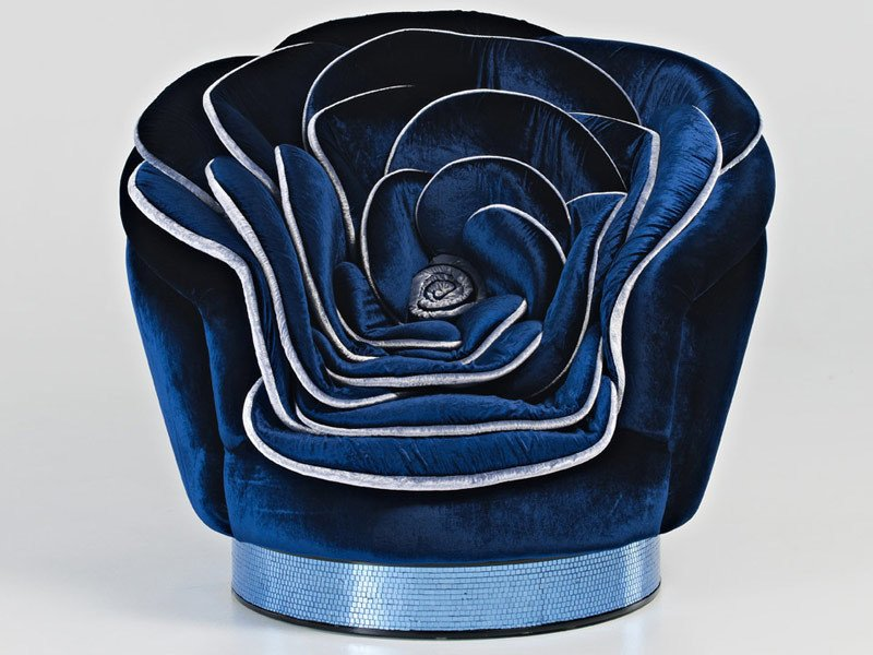 Upholstered velvet armchair TENDERLY by Sicis