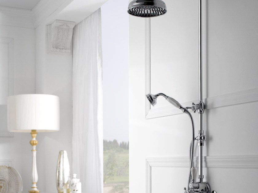 Shower panel with hand shower with overhead shower CANTERBURY | Shower panel by Graff Europe West