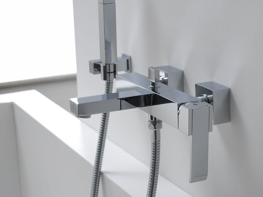 Wall-mounted bathtub set with hand shower QUBIC | Wall-mounted bathtub set by Graff Europe West
