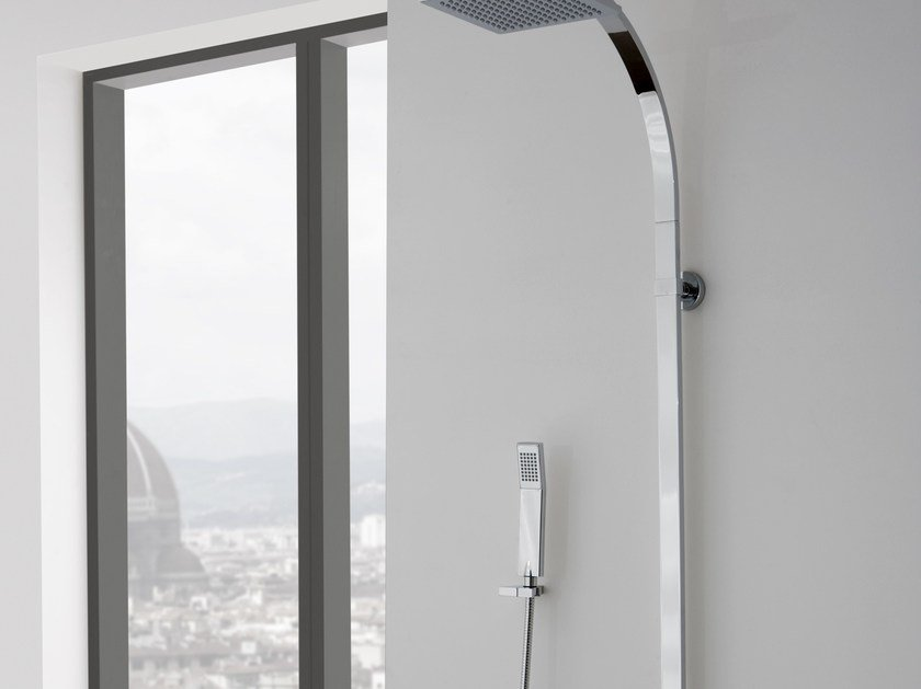 Shower panel with overhead shower QUBIC | Shower panel with overhead shower by Graff Europe West