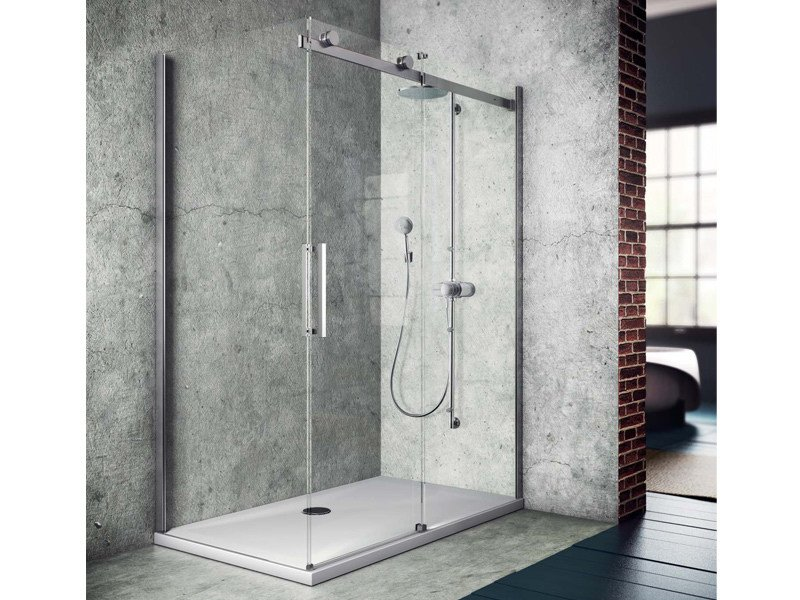 Corner shower cabin with tray with sliding door FLUIDA FW+FP by Glass1989