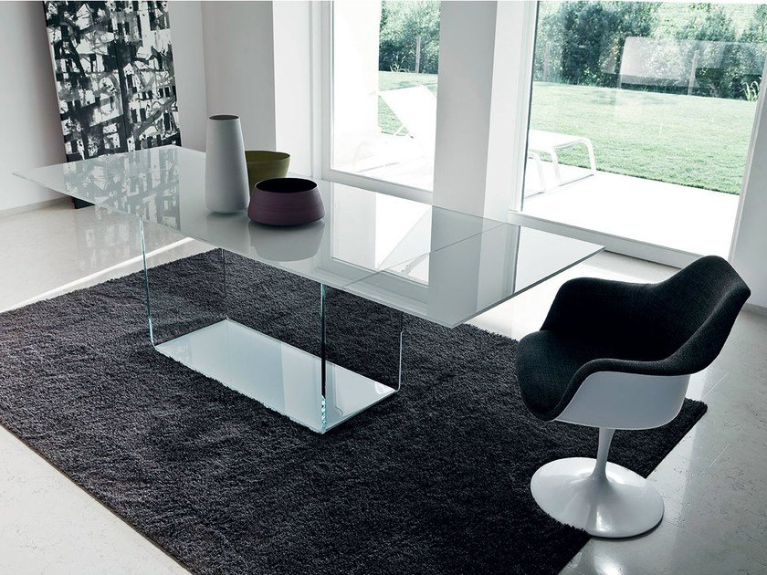 Extending rectangular glass table VALENCIA EXTENSIBLE by Sovet italia