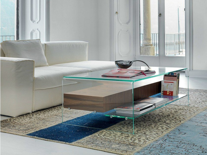 Coffee table BRIDGE WITH DRAWER AND SHELF by Sovet italia