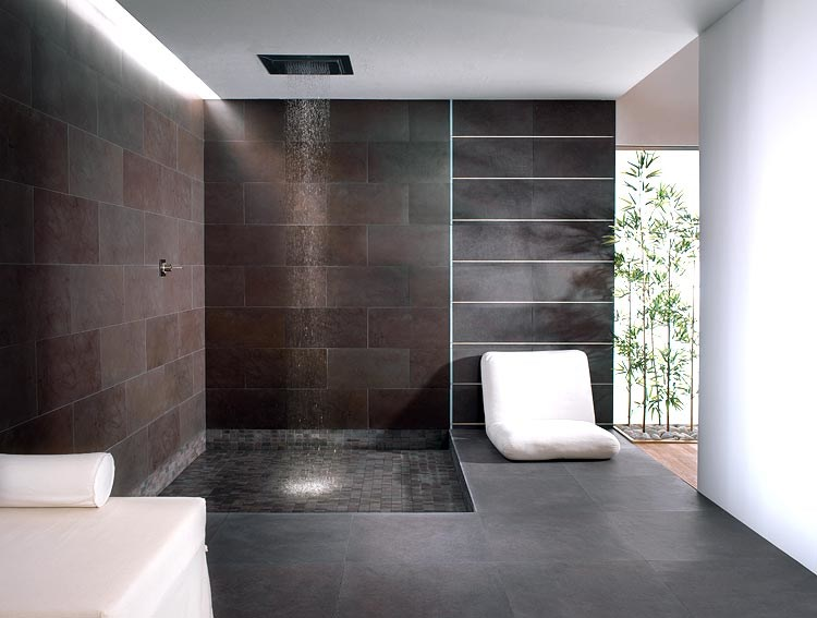 Full body porcelain stoneware wall floor tiles with stone - Piastrelle in ardesia ...