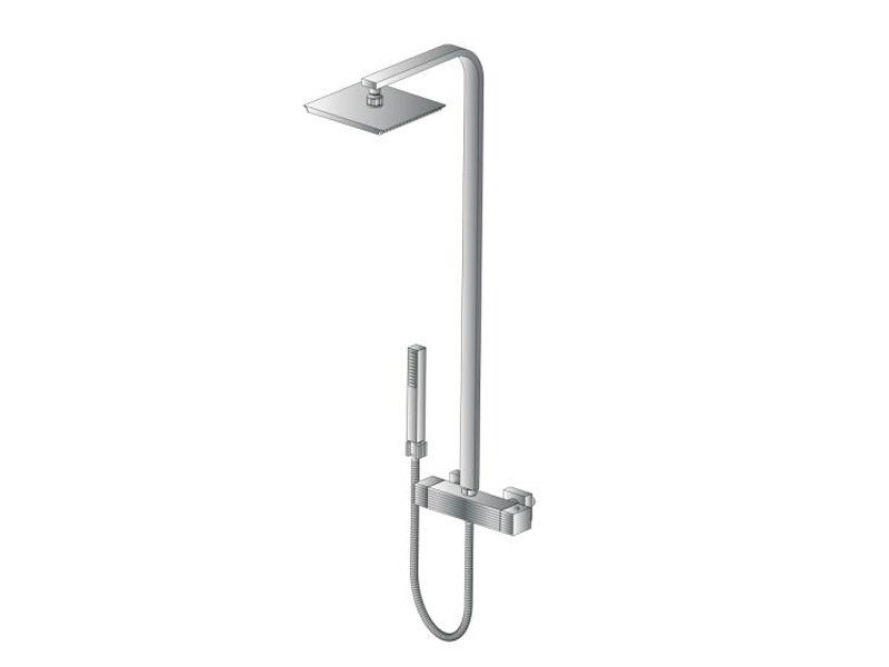 Thermostatic shower mixer with hand shower with overhead shower CASANOVA 3287TM33 by RUBINETTERIE STELLA