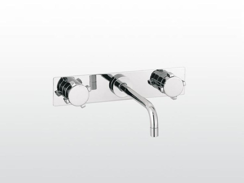3 hole wall-mounted washbasin tap with plate ASTER | 3863PS by RUBINETTERIE STELLA