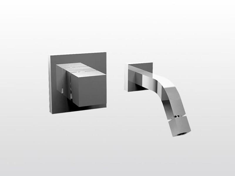 Miscelatore per lavabo a 2 fori a muro BAMBOO QUADRO 3868MC by RUBINETTERIE STELLA