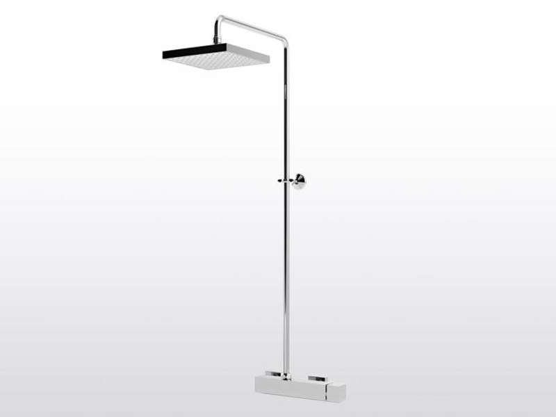 Chrome-plated single handle shower tap with overhead shower BAMBOO QUADRO 3283/301 by RUBINETTERIE STELLA