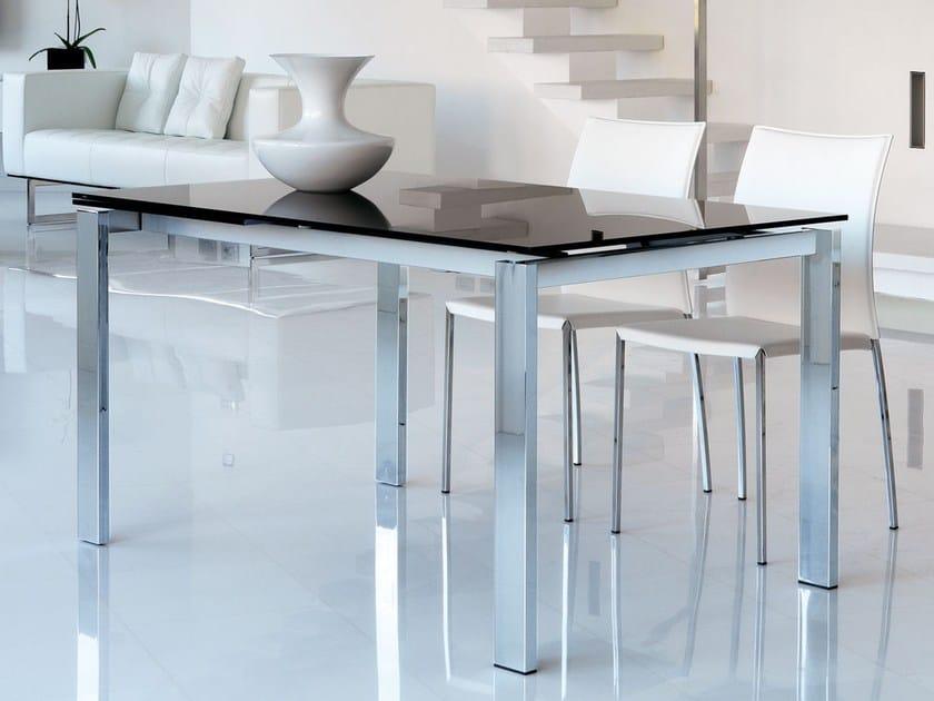 Mesa extensible rectangular de comedor de vidrio de estilo moderno ...