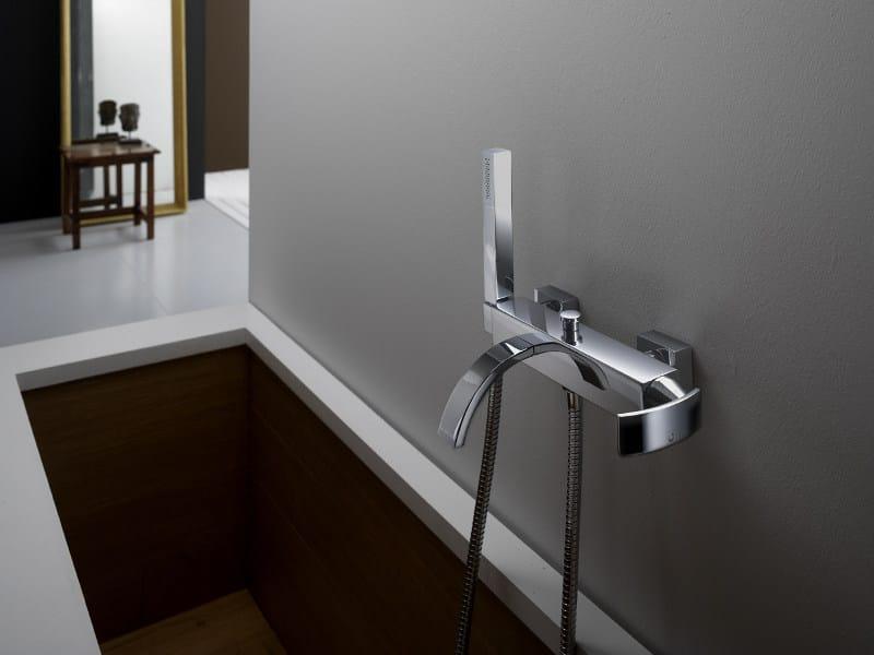 Wall-mounted bathtub mixer with hand shower WABI | Bathtub mixer by Gattoni Rubinetteria