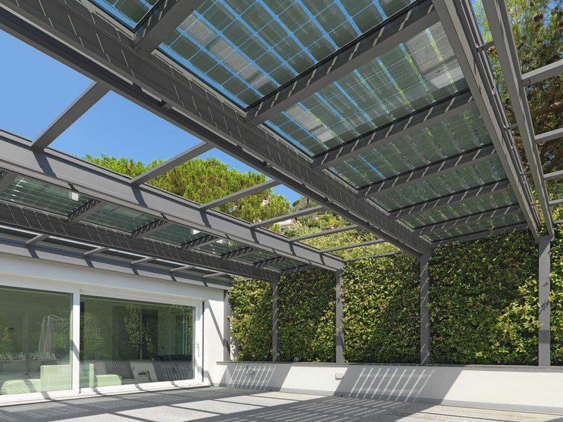 Stainless steel Pergola CONSERVATORY WITH PHOTOVOLTAIC WINDOW by CAGIS