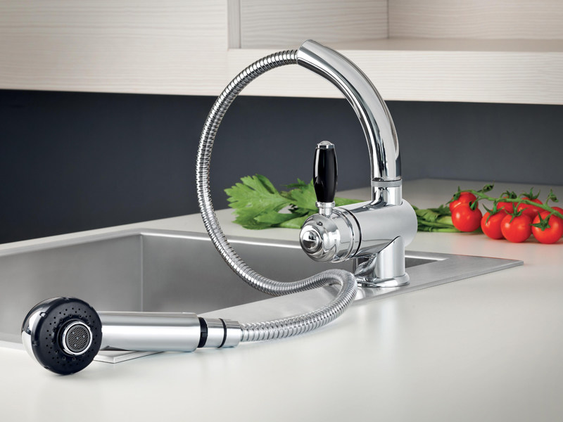 Chrome-plated kitchen mixer tap with pull out spray ROMA | 3232 by RUBINETTERIE STELLA