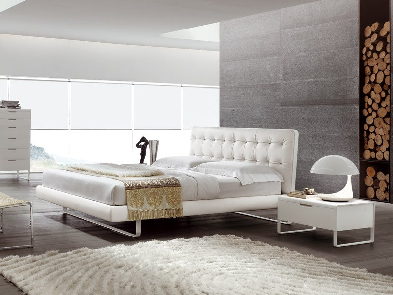 Double bed with upholstered headboard BLADE by ALIVAR