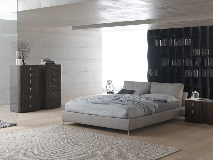 Leather bed with upholstered headboard OASI by ALIVAR