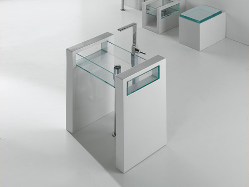 Freestanding rectangular glass washbasin GLASS | Freestanding washbasin by GSG Ceramic Design